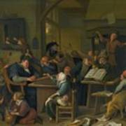 A Riotous Schoolroom With A Snoozing Schoolmaster Art Print