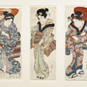 A Set Of Three Woodblock Prints Kakemono Art Print