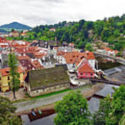 A View Overlooking The Vltava River And Cesky Krumlov In The Czech Republic Art Print