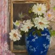 Abbott Graves 1859-1936 Flowers In A Blue Vase Art Print