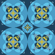 Abstract Mandala Cyan, Dark Blue And Yellow Pattern For Home Decoration Art Print
