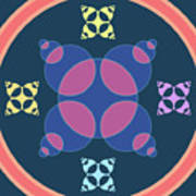 Abstract Mandala Pink, Dark Blue And Cyan Pattern For Home Decoration Art Print