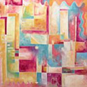 Abstract Pop Art Style Unique Pastel Painting Contemporary Art By Megan Duncanson Art Print