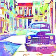 Abstract Watercolor - Havana Cuba Classic Car IIi Art Print