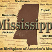 Aged Mississippi State Pride Map Silhouette  Art Print