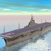 Aircraft Carrier - 3d Render Art Print