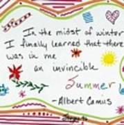Albert Camus Doodle Quote Art Print