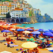 Amalfi Beach Art Print