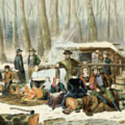 American Forest Scene Maple Sugaring Art Print