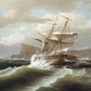 An American Ship In Distress Art Print