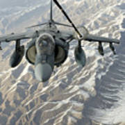 An Av-8b Harrier Receives Fuel Art Print