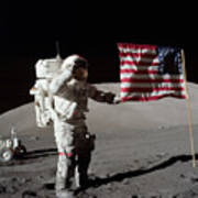 Apollo 17 Astronaut Salutes The United Art Print