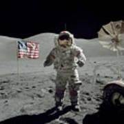 Apollo 17 Astronaut Stands Art Print