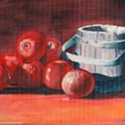 Apples - N - Wodden Basket Art Print