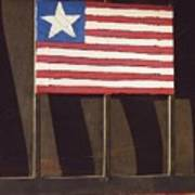 Art Homage Jasper Johns Flag Window Silver Dollar Bar Eloy Arizona 2004 Art Print