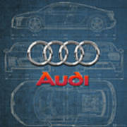 Audi 3 D Badge Over 2016 Audi R 8 Blueprint Art Print by Serge Averbukh