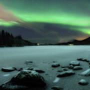Aurora Borealis Over Sandvannet Lake Art Print