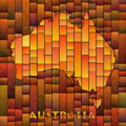 Australia Map Glasa In Orange Art Print