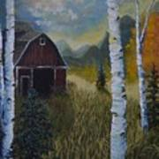 Autumn Red Barn  Art Print