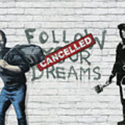 Banksy - The Tribute - Follow Your Dreams - Steve Jobs Art Print by Serge Averbukh