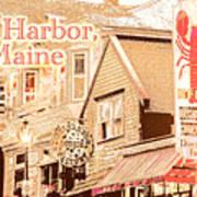 Bar Harbor Maine Shops At Night Art Print