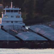 Barge On Mississippi River Art Print