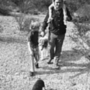 Barry Sadler With Sons Baron And Thor Taking A Stroll 1 Tucson Arizona 1971 Art Print