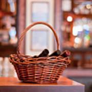 Basket With Wine Bottles Art Print