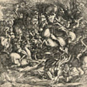 Battle Of Nude Men Art Print