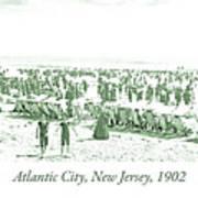 Beach, Bathers, Ocean, Atlantic City, New Jersey, 1902 Art Print