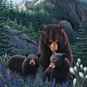 Bears On Snow Peak Painting Art Print