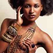 Beautiful African American Woman Wearing Jewelry Art Print