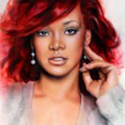 beautiful airbrush portrait of RihanA beautiful airbrush portrait of Rihanna with red hair and a fac Art Print