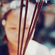 Beautiful Asian Woman Holding Incense Sticks During Hindu Ceremony In Bali, Indonesia Art Print