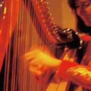 Beautiful Harp Player Art Print