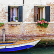 Beautiful View Of Water Street And Old Buildings In Venice, Ital Art Print