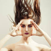 Beautiful Woman With Windswept Hair Art Print