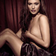 Beautiful Young Woman Sitting Naked In Bed Print by Oleksiy Maksymenko