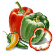 Bell Peppers Jalapeno Art Print