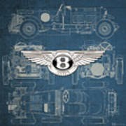 Bentley - 3 D Badge Over 1930 Bentley 4.5 Liter Blower Vintage Blueprint Art Print
