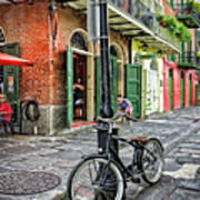 Bike And Lamppost In Pirate's Alley Art Print