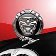 Black Jaguar - Hood Ornaments And 3 D Badge On Red Art Print by Serge Averbukh