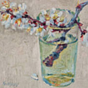 Blossoming Branch In A Glass Art Print