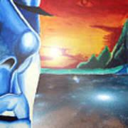 Blue Face Art Print