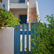 Blue Gate In Greece Art Print
