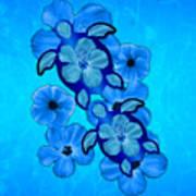 Blue Hibiscus And Honu Turtles Art Print