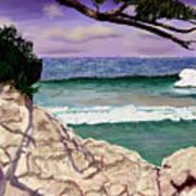 Blue Lagoon Rocks Art Print