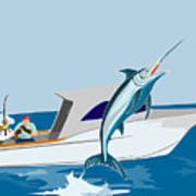 Blue Marlin Jumping Art Print