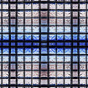 Blue Toned Glass Brick Window Abstract  Art Print