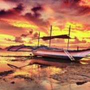 Boat At Sunset Art Print